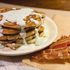 Oatmeal Pancakes with Caramelized Bacon and Herbed Crème Fraiche