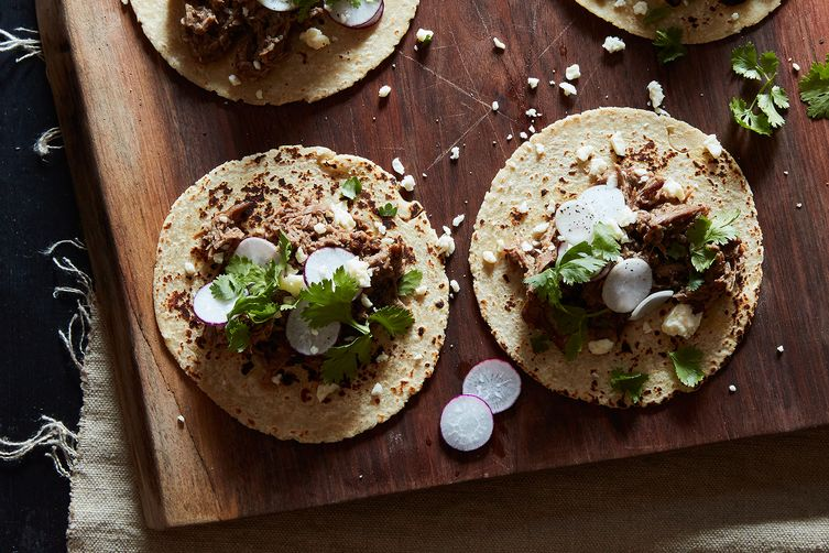 Beer-Braised Beef Tacos with Onions