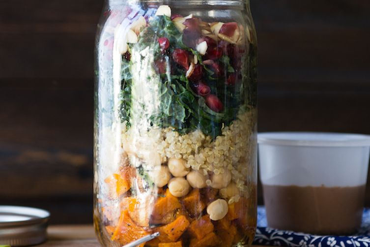 Kale Autumn Salad in a Jar