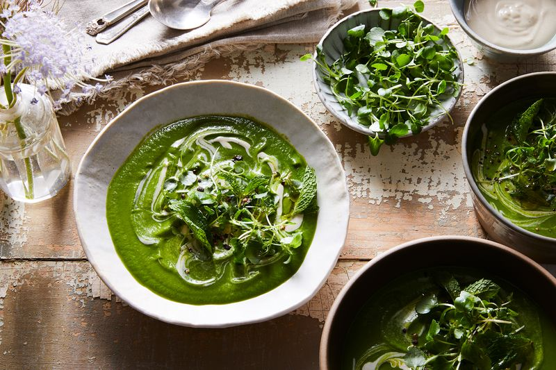 Spicy watercress peps up this bright pantry-friendly soup.