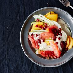 Fruit Salad with Tahini-Coconut Dressing