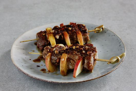 Spiced Pork and Apple Skewers