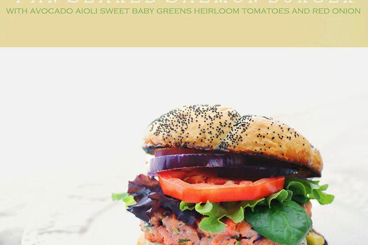 Salmon Burger with Avocado Aioli