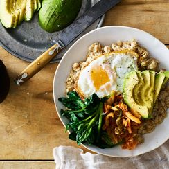 Savory Stovetop Oats with Avocado, Greens, and Kimchi