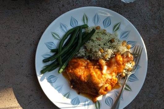 Turkish apricot chicken with chickpea pilaf