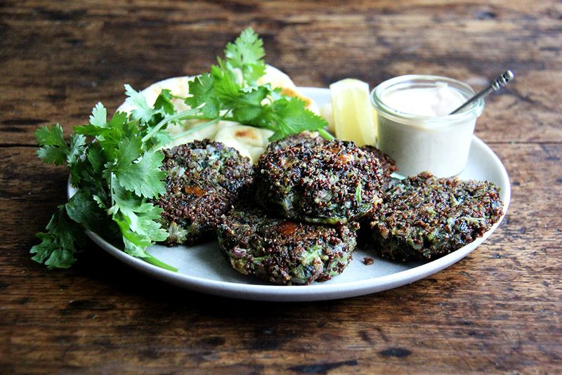 Crispy Quinoa and Mustard Green Cakes