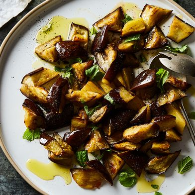 Warm Eggplant & Mint Salad