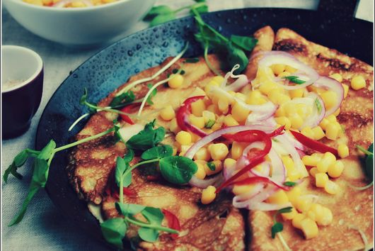 Fresh Corn Salsa Over Savory Crepes