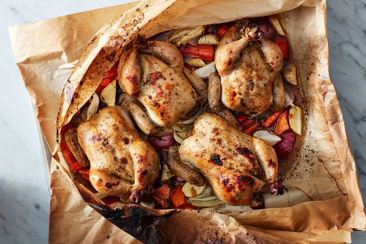 Parchment-Roasted Cornish Game Hens with Maple Root Vegetables