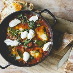 Mina Holland's Baked Eggs with Sage, Cinnamon, and Arugula