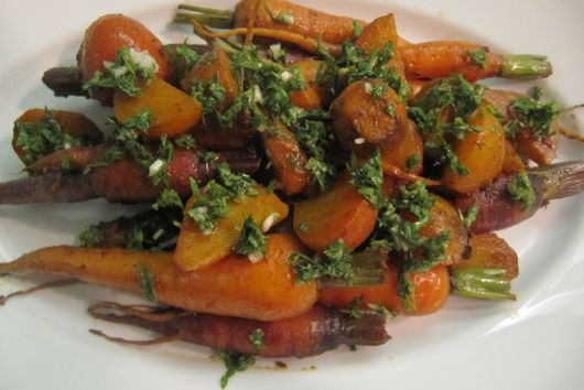 Sweet Roasted Roots with Carrot Top Gremolata