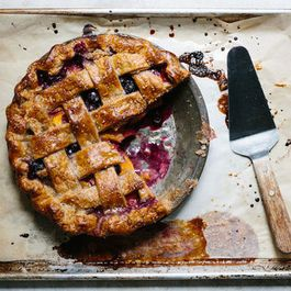 Lattice-Top Peach and Blueberry Pie with Rye Crust