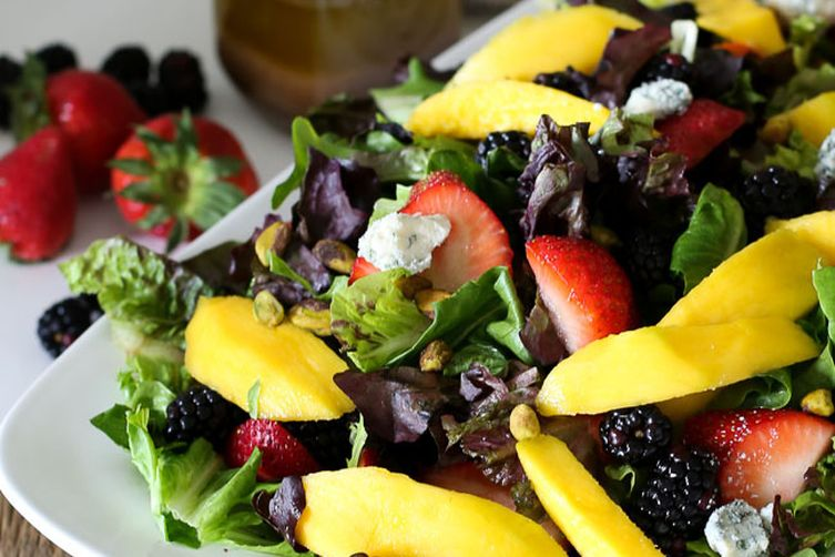 MANGO-BERRY TOSSED SALAD W. COCONUT-BALSAMIC DRESSING