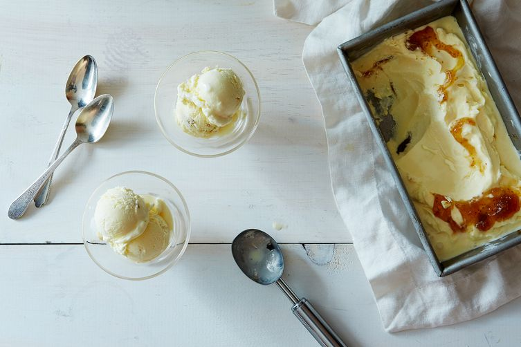 Goat Cheese Ice Cream with Honey and Fig Jam