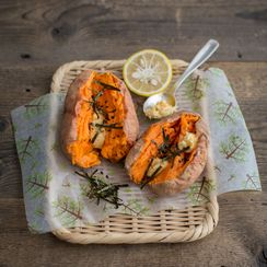Baked Sweet Potatoes with Miso Yuzu Butter