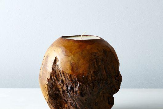 Spherical Teak Candle
