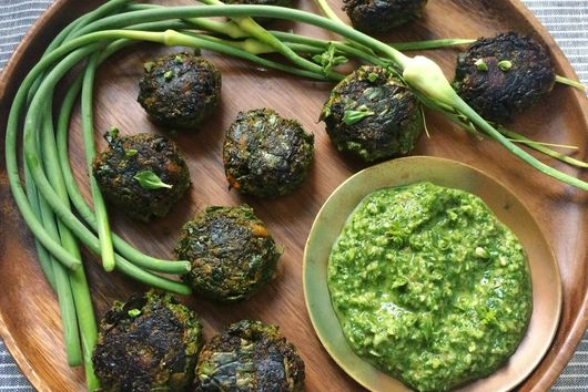 Meatless meatballs with cilantro garlic chimichurri