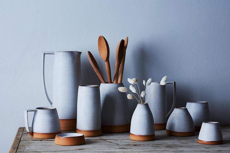 The Shelter Collection's ceramics: mugs, glasses, pitchers, vases, crocks, and ramekins.