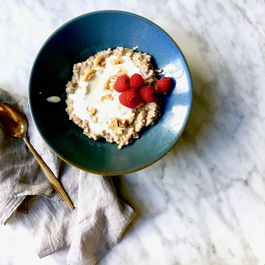 Creamy buckwheat, walnut and date porridge