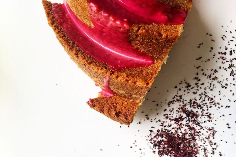 Almond Cake with Hibiscus Glaze