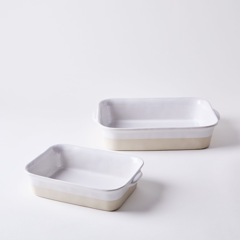 Casserole Tapas Rectangular Ceramic Baking Dish,Oven to Table Baking Dish Ideal for Lasagne 32cm+42cm HUAFA Series Bake Pies Red, Set of 2