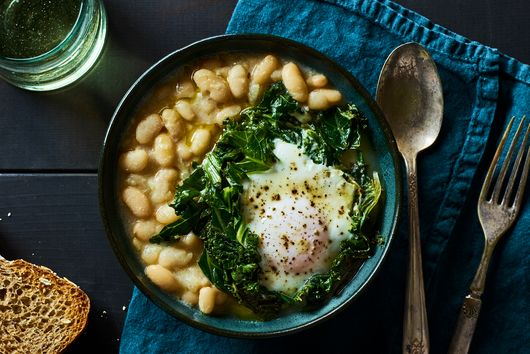 Buttermilk White Beans With Eggs & Greens