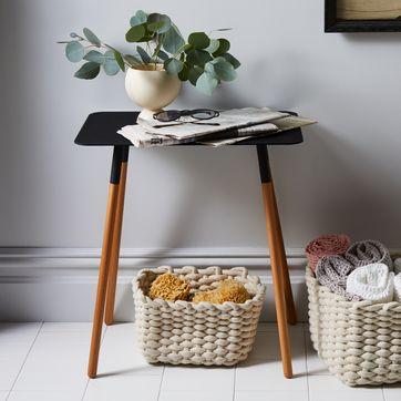 Wondrous Steel Wood Rectangular Side Table Forskolin Free Trial Chair Design Images Forskolin Free Trialorg