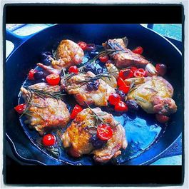 Cast iron chicken thighs by Marilyn Ringwood