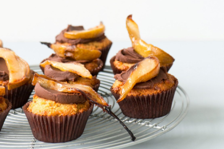 CHAMOMILE AND HONEY MUFFINS WITH GANACHE & ROASTED PEARS