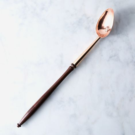 Vintage Copper English Basting Spoon With Wooden Handle, Mid 19th Century