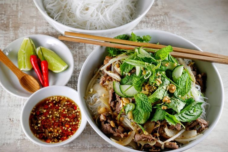Vietnamese Lemon Grass Beef with Rice Noodles (Bún Bò Xào)
