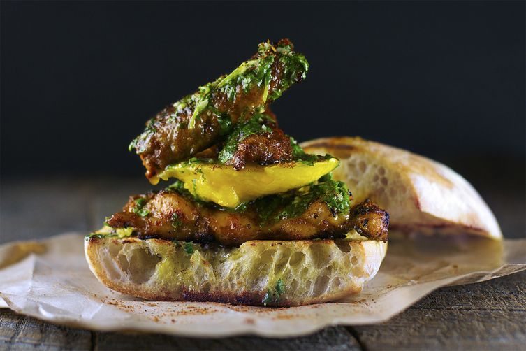 Mango & Smoked Chorizo Sandwich with Blackened Chicken and Chimichurri ...