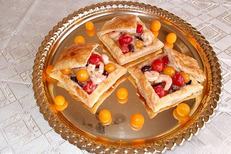 Roasted Shrimp and Cherry Tomato Salad Served in Puff Pastry