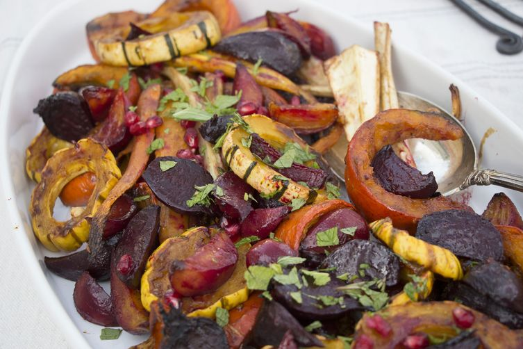 Roasted Fall Vegetables with Sweet & Spicy Pomegranate Glaze