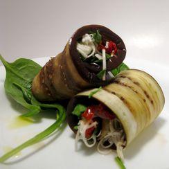Olive-Artichoke Eggplant Rolls
