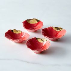 Gold-Dipped Red Pinch Bowls