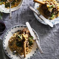 Gingery Braised Lamb Shanks with Meyer Lemon and Cilantro Relish