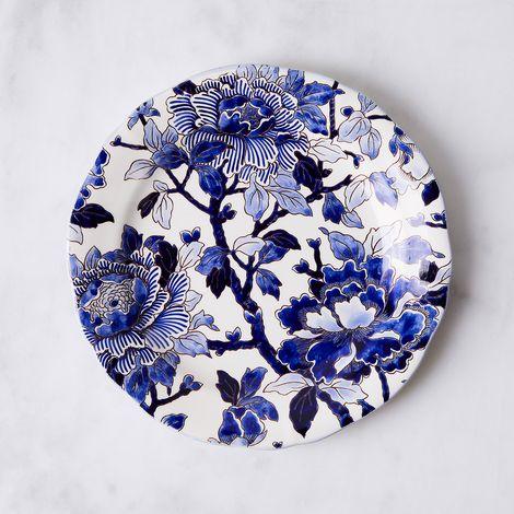 Gien Hand-Painted Vintage-Inspired Peonies Plate