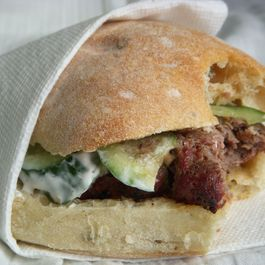 Merguez Burgers with Cucumber Dressing