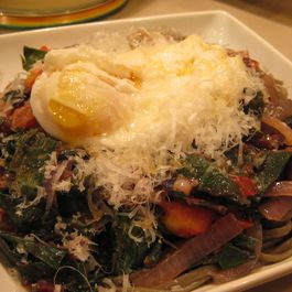 Chard, Onions, Pasta and an Egg