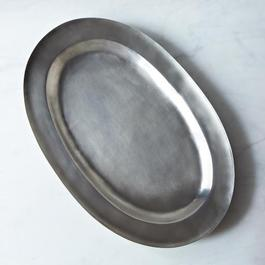 Wide Rimmed Antique Oval Pewter Platter