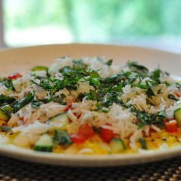 Warm Yellow Lentil Rice Salad (Moong Dal Chaat)