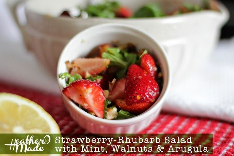Strawberry-Rhubarb Salad with Mint, Walnuts & Arugula