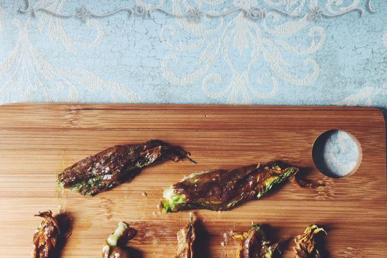 Matcha & Mozzarella Stuffed Zucchini Blossoms