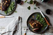 Broiled Spicy Steak with Garlic Chips on Gorgonzola Crostini