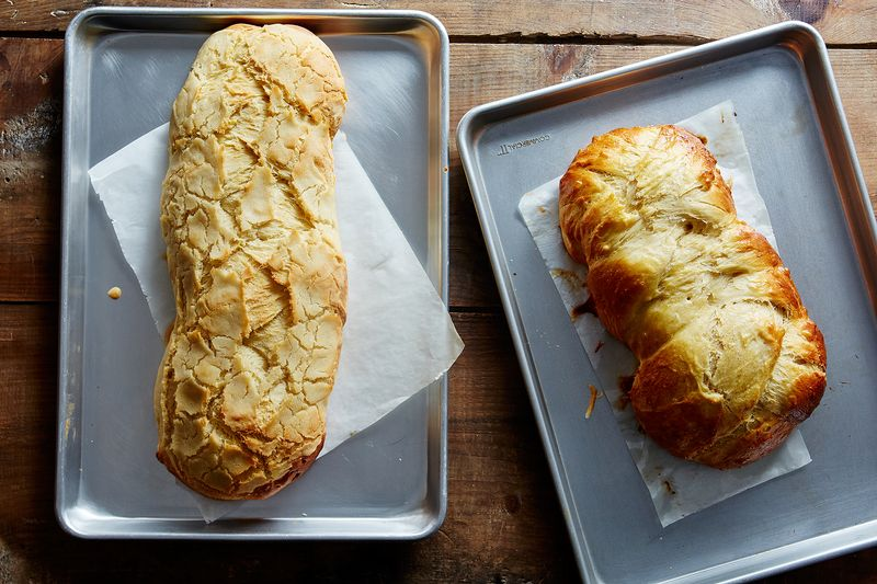 Dutch Crunch transformed the loaf on the left from a challah into something much cracklier-looking.