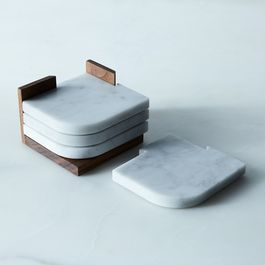 Carrara Marble & Walnut Join Coasters