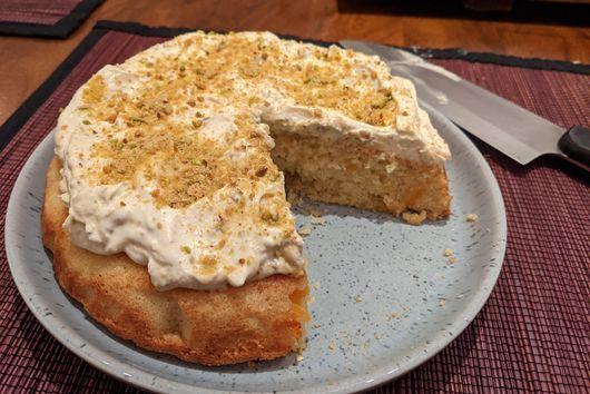 Orange Semolina Olive Oil Cake with Pistachio Praline Blender Whipped Cream