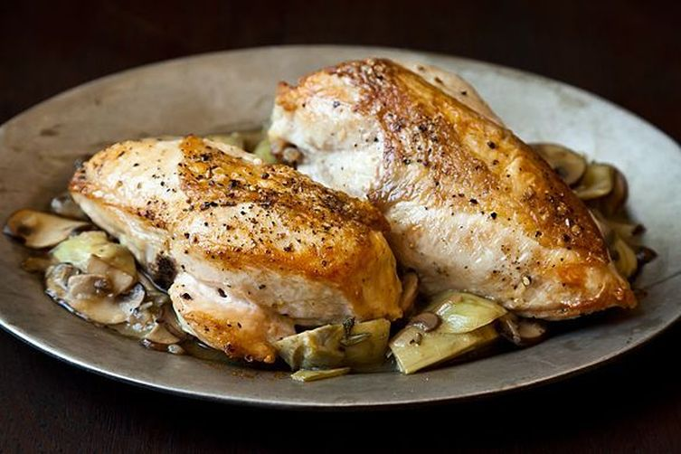 Roast Chicken Breasts with Mushrooms and Artichoke Hearts
