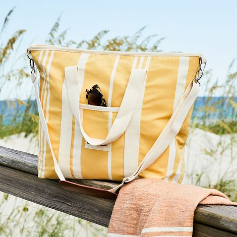 Vintage-Inspired Striped Canvas Cooler Tote